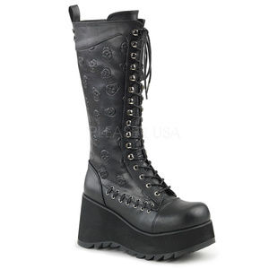 Shoes - Gothic Platform Skull Lace-Up Knee High Boots